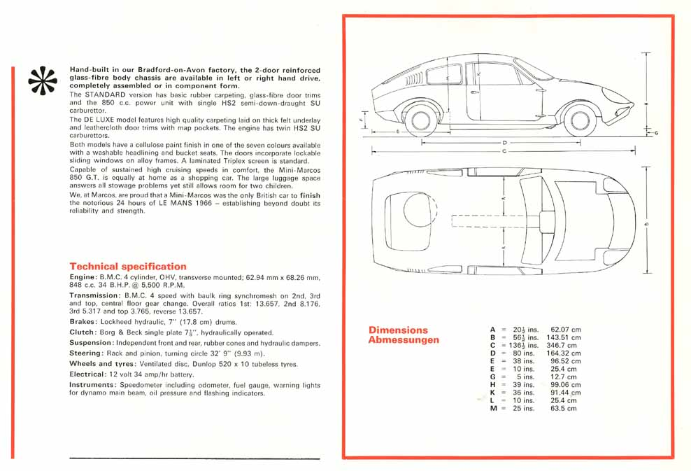 Mini Marcos 850 GT Brochure (French)